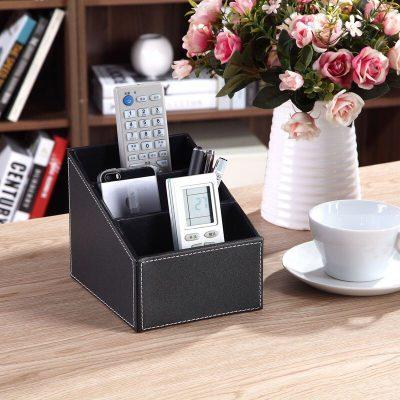 3 Cells Remote Control Holder Makeup Cosmetic Organizer Desk Office Organizer Retro PU Leather Storage Box