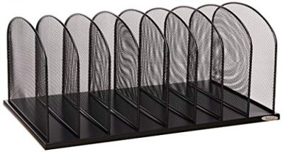Safco Products Onyx Mesh 8 Sort Vertical Desktop Organizer 3253BL, Black Powder Coat Finish, Durable Steel Mesh Construction, Eco-Friendly