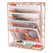 New Superbpag Hanging File Organizer, 6 Tier Wall Mount Document Letter Tray File Organizer, Rose Gold
