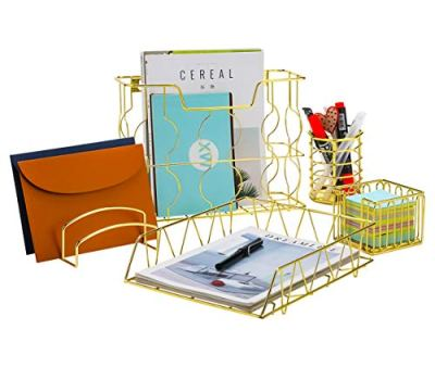 PAG Office Supplies 5 in 1 Metal Desk Organizer Set - Hanging File Organizer, File Tray, Letter Sorter, Pencil Holder and Stick Note Holder (Gold)