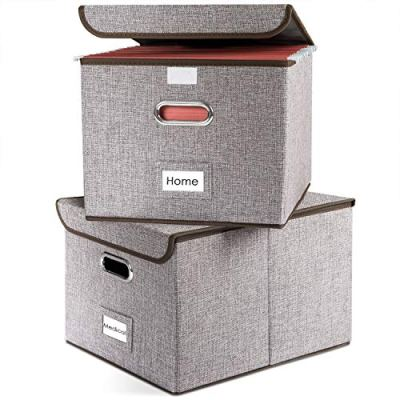 Prandom File Boxes | Collapsible Decorative Linen Filing Storage Organizer Hanging File Folders with Lids Office | LetterLegal Size | Important Document | Gray [2-Pack]
