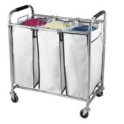Saganizer Hamper with Wheels Rolling Cart Heavy Duty Triple Laundry Organizer/Sorter, Chrome/White