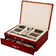 Italian Collection Flatware Wooden Box, Premium Case for Flatware with drawer, Silverware storage chest that holds up to 75 pcs of Silverware