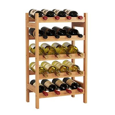HOMECHO 20 Bamboo Wine Display Bottles Storage Rack Free Standing with 5-Tier Shelf Wobble-Free Natural Color HMC-BA-002