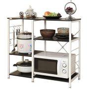 "DlandHome Microwave Cart Stand 35.4"", Kitchen Baker's Rack Utility Storage Shelf Microwave Stand 3-Tier+3-Tier for Spice Rack Organizer Workstation Shelf, 171-B Black, 1 Pack"