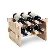 DEFWAY Wood Home Wine Rack – Stackable Storage Wine Holder 6 Bottle Display Free Standing Natural Wooden Shelf for Bar Kitchen (2-Tier Natural Wood)
