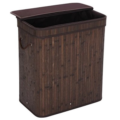 SONGMICS Folding Laundry Basket with Lid Handles and Removable Liner Bamboo Hampers Dirty Clothes Storage Rectangular Dark Brown ULCB63B