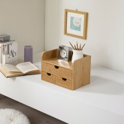 Multi-Function Bamboo Table Organizer Pen Container Cosmetics Sundries Storage Box with Drawers Natural Wood Tissue Box