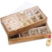 Keebofly Jewelry Tray with Lid Rustic Wood Jewelry Organizer Box