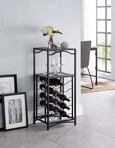 None Black Metal Finish and Vintage Brown Top with 15 Bottle Holder Wine Organizer Rack with Shelf Kitchen and Wine Glass Holder