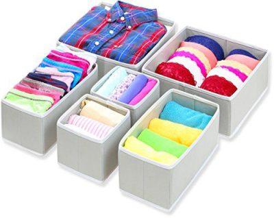 Dresser Drawer Divider Organizer Basket Bins for Underwear Bras, Gray