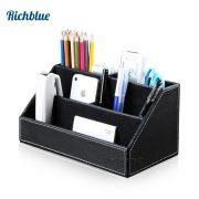 PU Leather Desktop Organizer Stationery Storage Box Pen Pencils Holder Remote Control Case Container Box