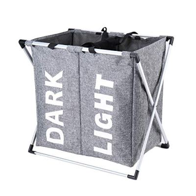 """Hosroome 2 Sections Laundry Hamper Laundry Baskets with Aluminum Frame (24""""x 15""""x 23"""") Dirty Clothes Bag for Bathroom Bedroom Home College Use,Grey"""