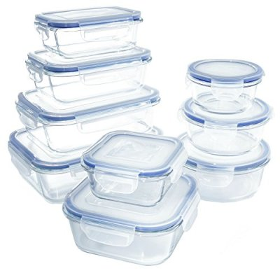 1790 18 Piece Glass Food Storage Container Set - BPA Free - Use for Home, Kitchen and Restaurant - Snap On Lids Keep Food Fresh with Airtight Seal Safe for Dishwasher