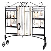 Jewelry Organizer Earring Holder Jewelry Display Necklace Large Capacity with Removable Foot Bracelets Holder Wall Stand Rack (Black)
