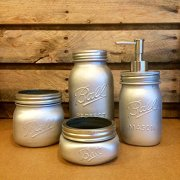 4 Piece Silver Mason Jar Desk Set, Silver mason jar bathroom set with soap dispenser, Silver Mason Jar desk organizer, Silver mason jar vanity set