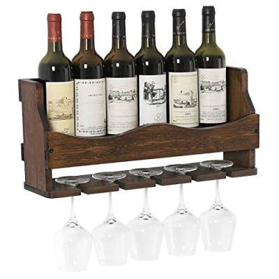 SONGMICS Wall-Mounted Wine Rack, Bamboo Bottle and Glass Holder, Holds 6 Bottles, 5 Glasses, Walnut Color UKWR11WN