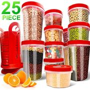 Fun Life 25-Piece Food Storage Containers BPA Free Leakproof Durable Plastic Storage Container Set with Rotating Rack Great for Flour, Sugar, Cereals Safe for Microwave/Freezer/Dishwasher (Racer Red)