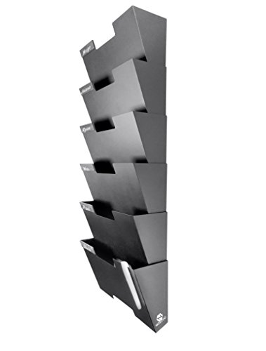 Black Wall Mount Hanging File Holder Organizer 6 Pack Durable Steel Rack, Solid, Sturdy and Wide for Letters, Files, Magazines and More Organize The Desktop, Declutter Your Office Nozzco