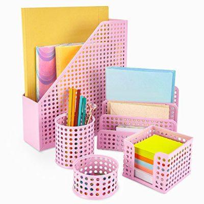 Pink Desk Organizer Office Desk Set: 5 Desktop Accessories for Women. Includes File/Paper Organizer, Mail Holder, Pen Cup, Note Holder, Clip Cup. Cute Decor for Storage Supplies Organizers