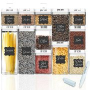 Shazo Airtight Container Set for Food Storage - 12 Piece Set + 18 Labels & Marker - Strong Heavy Duty Plastic - BPA Free - Airtight Storage Clear Plastic w/White Interchangeable Easy Lock Lids
