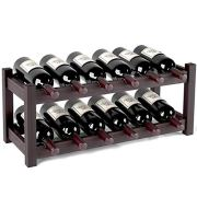 Homfa Bamboo Wine Rack 12 Bottles, 2-Tier Free Standing Stackable Tabletop Wine Bottles Display Storage Shelf for Wine Cella, Basement, Cabinet, Closet, Dark Brown