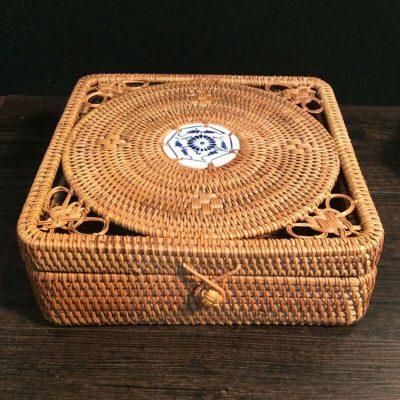 Vietnam Autumn rattan Rdensely knitted Pu 'er tin tea box organizer square tea tin storage box Elegant quality Jewelry Box gift