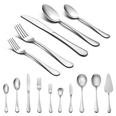 45-Piece Silverware Set with Serving Pieces, LIANYU Stainless Steel Cutlery Flatware Set Service for 8, Mirror Finish, Dishwasher Safe