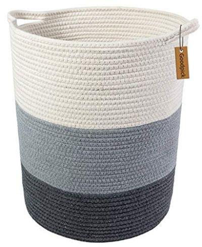"Goodpick 17.8"" x 15.8"" x 13.8"" Gray Baby Laundry Basket - Thread Cotton Rope Basket - Toy Storage Organizer - Tall Woven Basket Toy Storage -Baby Laundry Hamper Nursery Decor"