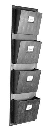 "Linon AHW-M1240-1 4 Slot Hanging Metal Mailbox, 14.5"" W x 4"" D x 46"" H, Gray"