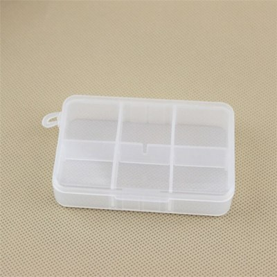 Glossy Rectangle Shape 6 Compartment Storage Box with Removable Divider Plastic 6 Lattices Sundries Storage Box Jewelry Box Bins