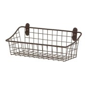 "Spectrum Diversified Vintage Wall Mount Storage Basket, 11"" x 4"" x 4"", Bronze"