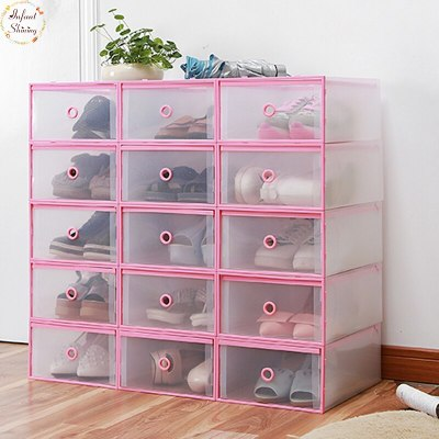 4PCS Shoes Wrapped Plastic Storage Box Drawer Type Transparent Plastic Shoes Box Drawer Storage