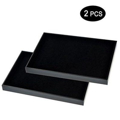 Ginasy Black Velvet Stackable Jewelry Tray Showcase Display(Jewelry Showcase 2PCS)