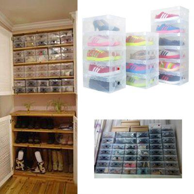 High Quality 10pcs/lot Foldable Plastic Shoe Storage Case Boxes bag Stackable Organizer Shoe Holder Easy DIY