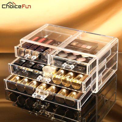 CHOICE FUN Simple 3 Drawers Women Transparent Storage Box Acrylic Make Up Organizer Clear Plastic Cosmetic Makeup Organizer