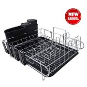 Tahlegy Professional Dish Drying Rack, Above Counter Large Capacity Dish Drying Rack for Kitchen with Antimicrobial Draining Board