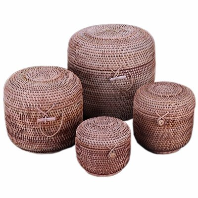Rattan Weave Food Container Storage Box Handmade Organizer Kitchen Breathable Cans For Bulk Products Banks Jars Caps Jug Lock