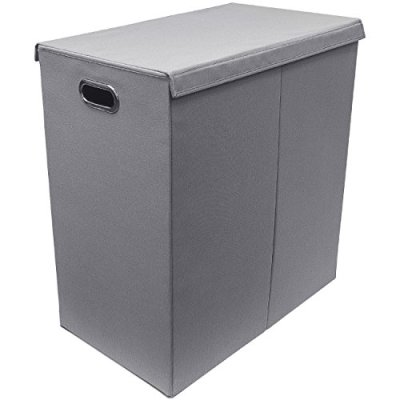 Sorbus Laundry Hamper with Lid Closure – Foldable Double Sorter Detachable Cover and Divider, Built-in Handles for Easy Transport Grey