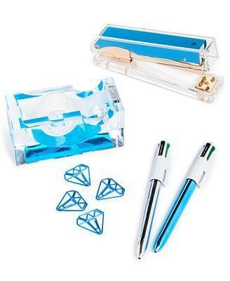 twelveNYC Celebrate Shop Acrylic Desk Accessory Set - Stapler, Tape Dispenser, 2 Pens, 4 Clips (Blue)