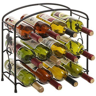Modern Grapevine Design Black Freestanding Metal 12 Bottle Wine Storage Shelf Rack / 3-Tier Wine Holder