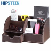 HIPSTEEN Multifunctional PU Leather Office Desk Organizer Business Card Stationery Holder Storage Box