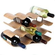 Lily's Home Countertop Wave Wine Rack, Wood, Elegant and Modern, Table Top Wine Storage (Oak, 14 Bottles)