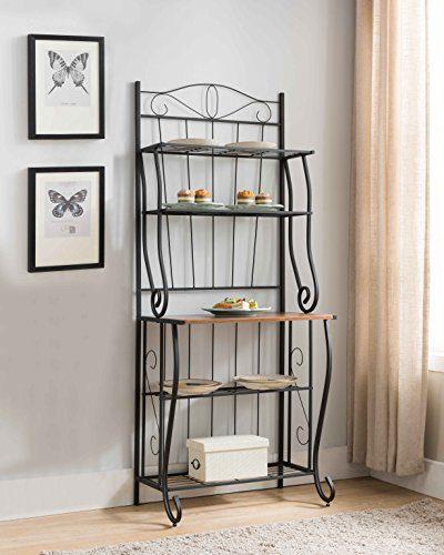 Kings Brand Furniture Black/Walnut 5-Tier Kitchen Storage Bakers Rack
