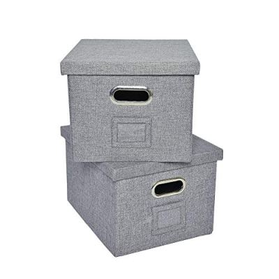 ATBAY File Storage Box with lids Large Capacity Office File Organizer for Letter Size File Folder, Gray(2PACK)