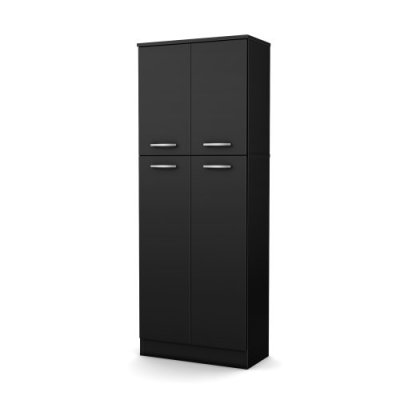 South Shore 4-Door Storage Pantry with Adjustable Shelves, Pure Black