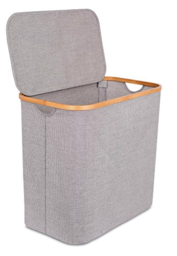 BIRDROCK HOME Bamboo & Canvas Hamper   Single Laundry Basket with Lid   Modern Foldable Hamper   Cut Out Handles   Grey Narrow Design   Great for Kids Adults