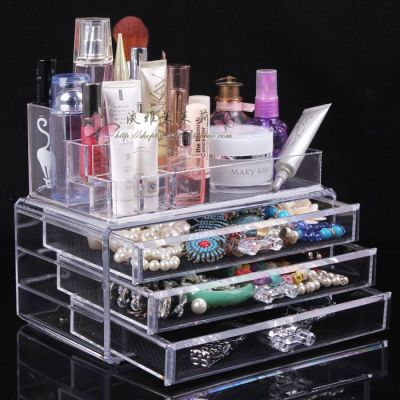 Quality transparent desktop cosmetics organizer box storage jewelry box skin care products perfume display rack