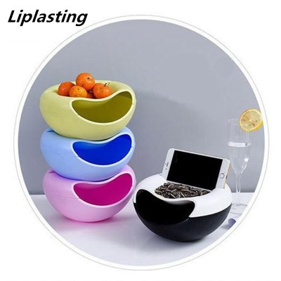 Multifunctional Plastic Double Layer Dry Fruit Containers Snacks Seeds Storage Box Garbage Holder Plate Dish organizadores TSLM1