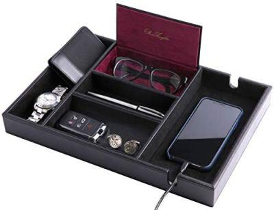 Oliver Legato Valet Tray for Men – Desk Organizer Tray with Smartphone Charging Station - EDC Dresser – Catch All Nightstand Dresser Valet – Vegan Leather Catchall Tray – Dresser Top Organizer